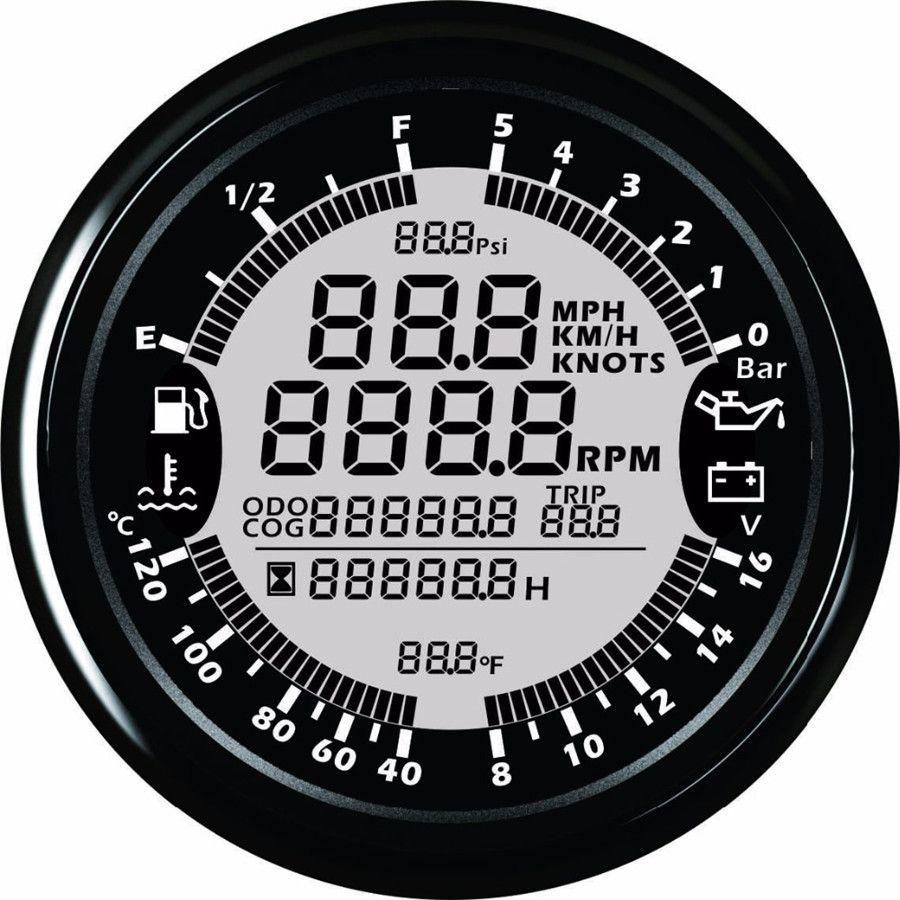 9-32 V 85mm GPS tacho Drehzahlmesser Öldruck Wasser Temp Voltmeter kraftstoffstand Kilometerzähler mit hintergrundbeleuchtung für Auto Boot Messgeräte