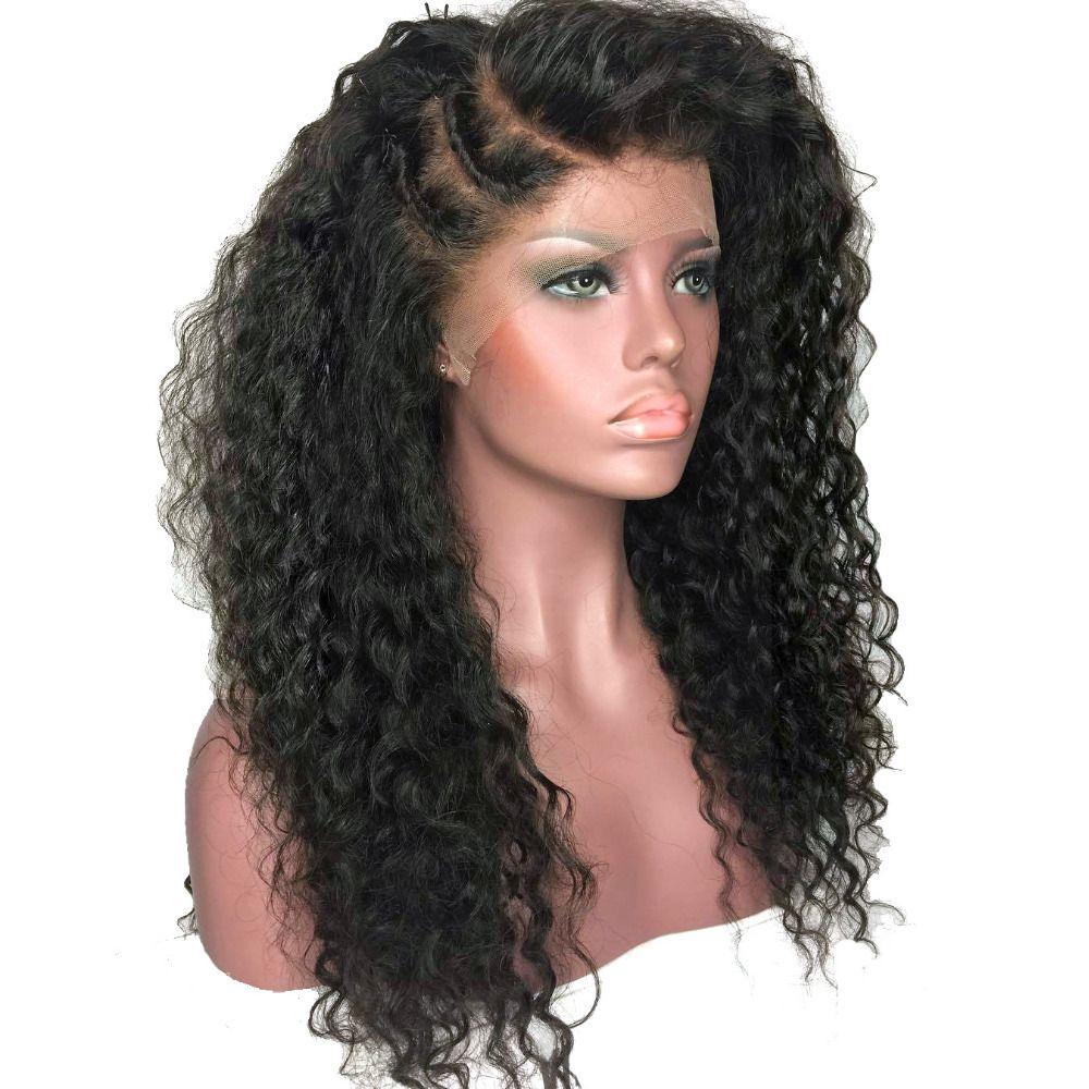 Kinky Rizado Afro Peluca Del Frente Del Cordón Pelucas de Pelo Sintético de Color Negro Uso Diario de largo Para Las Mujeres Negras 180% Densidad Pesada Resistente Al Calor