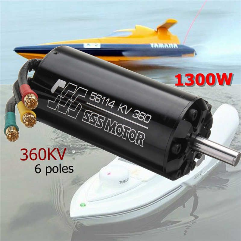 SSS 56114/360KV 1300W Brushless Motor 6 Poles For RC Marine Boats Surfboard