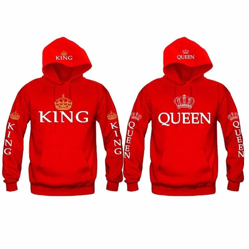 Autumn New Couple Hoody QUEEN KING Crown Printing Blue Men Women Hoodie Fashion Lovers Red Trendy Sweatshirt Casual Hooded