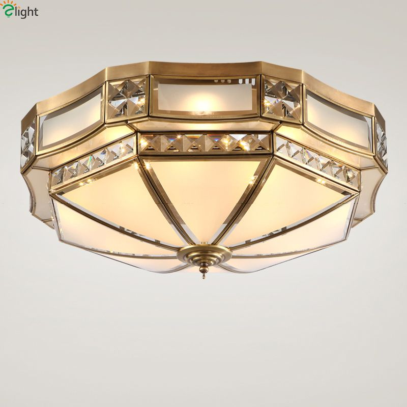 Europe Lustre Copper Dimmable Led Ceiling Lights Lamparas Crystal Bedroom Led Ceiling Lamp Fixtures Led Ceiling Light Luminarias