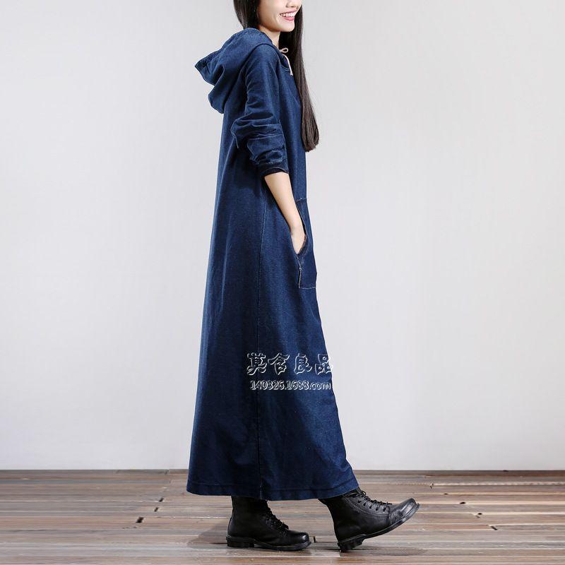 Hrajuku retro coreano de la vendimia del hippie de boho casual bohemia túnica femme hoodie del algodón denim jeans azul largo maxi otoño primavera dress