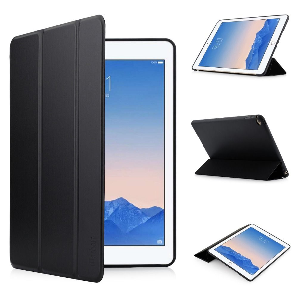 Case Cover for iPad Air 2, iHarbort Smart PU Leather Case With Soft Back Silicone /TPU Case for iPad Air 2 With Stand Holder