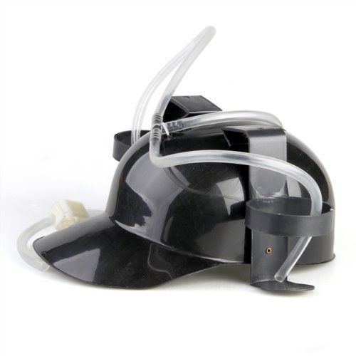 Headset has Biere Plastic Black Cap Helmet Beer Drinking Coke Hat