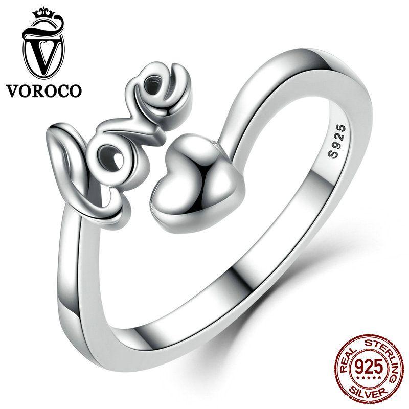 VOROCO Réel 100% 925 Sterling Argent Amour et Coeur Minimaliste Simple Ouvert Réglable Anneau Femmes & Lady Beaux Bijoux SCR024