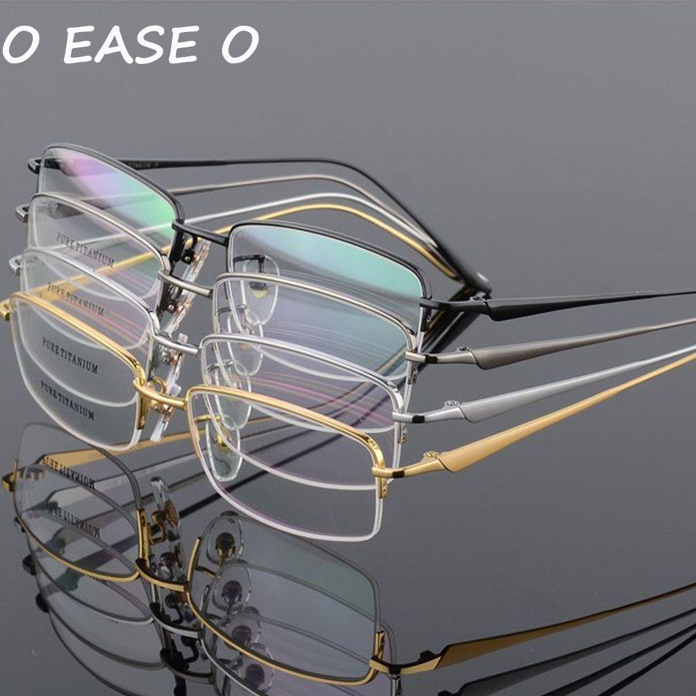 2018 beste Qualität 100% Reinem Titan Halb Rand Brillen Rezept Rahmen Kostenloser Versand Optische Brillen 8272