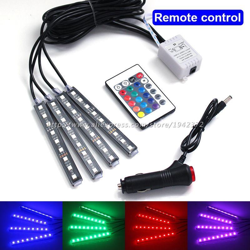 4 шт. RGB LED Voice музыка Дистанционное управление украшение лампы гамма Цвета интерьера напольная декоративные полосы света для всех автомобил...