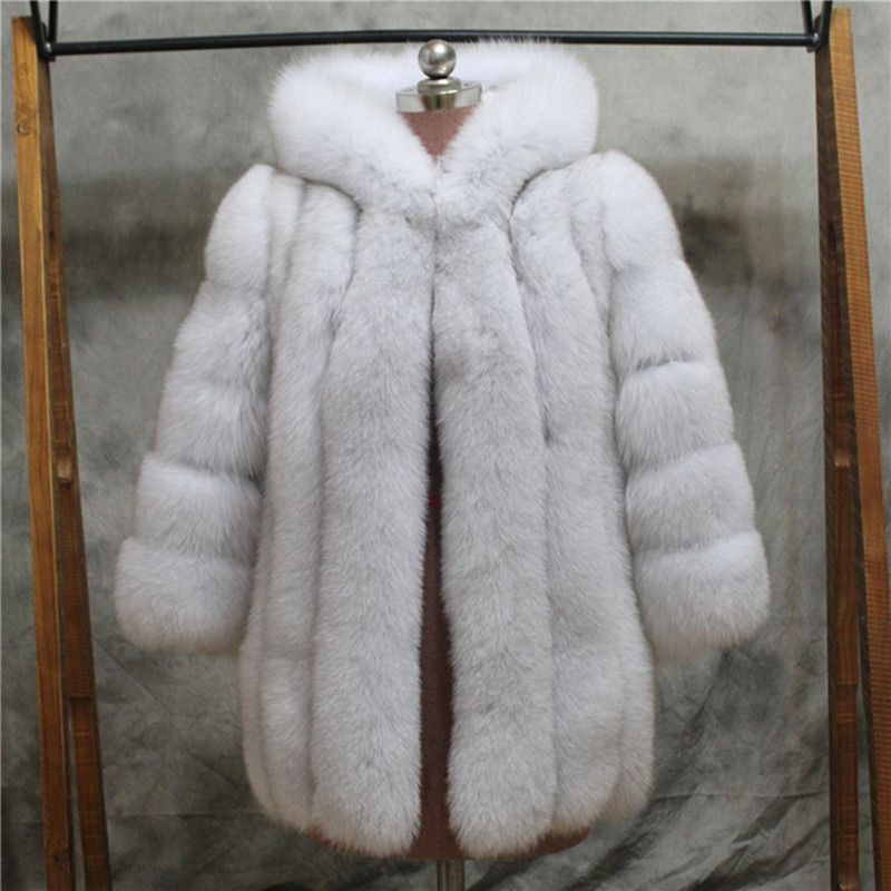 FURSARCAR Frauen Winter Echten Fuchspelz Mantel Mit Kapuze 75 cm Lange Pelzjacke Weibliche Dicken ganze Leater Echtes Natrual Fuchspelz Mäntel