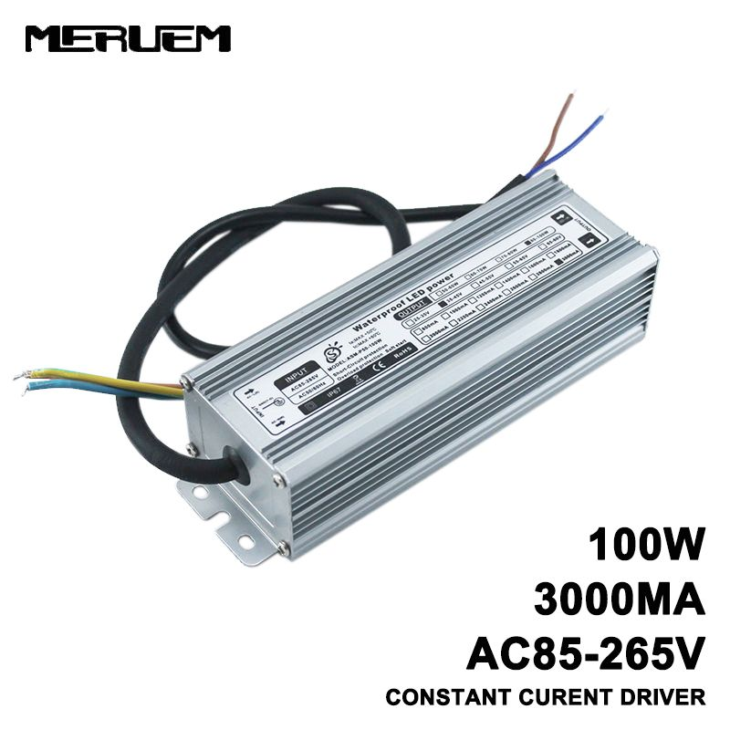100 w IP65 Étanche LED Pilote, AC85-265V À DC30-36V 3000mA Constante Alimentation En Courant, Out Door Projecteurs Transformateur