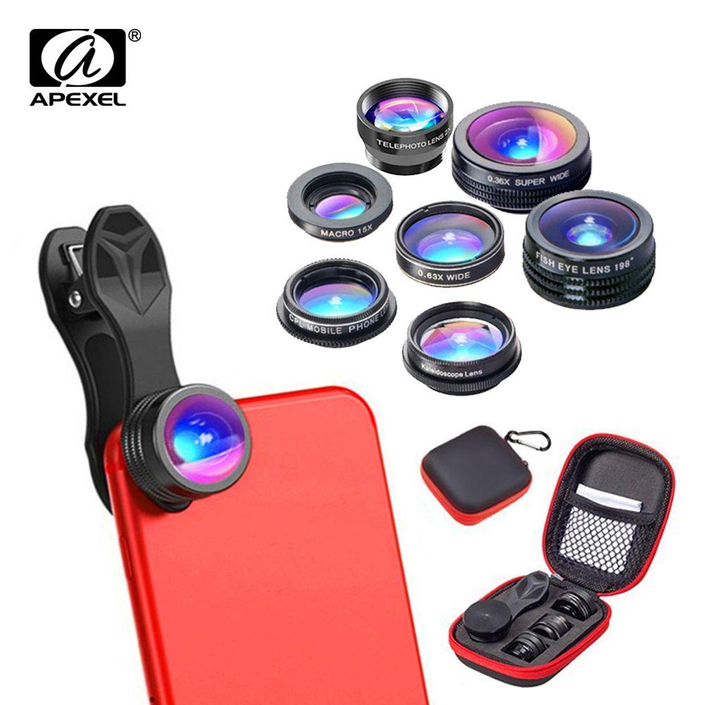 APEXEL 7 dans 1 Téléphone Camera Lens Kit Fish Eye Large Angle/macro Lentille CPL Kaléidoscope et 2X téléobjectif zoom Lens pour iPhone6s 7DG7