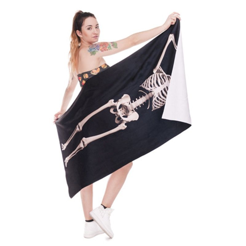 Fudiya 3D Digital Printed <font><b>Human</b></font> Skeleton Bath Towel Polyester Beach Towel Skull Shape Beach Pad Shawl <font><b>Human</b></font> Bones Towel 140x70CM