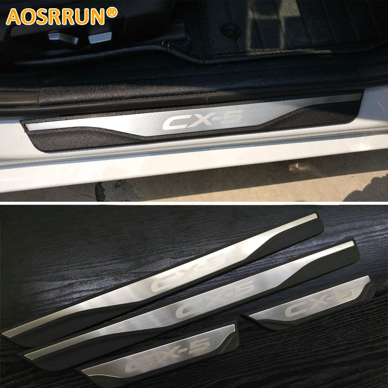 AOSRRUN Free Shipping ABS And Stainless steel Scuff Plate Door Sill For Mazda CX-5 CX5 SKYACTIV 2015 2016 2017