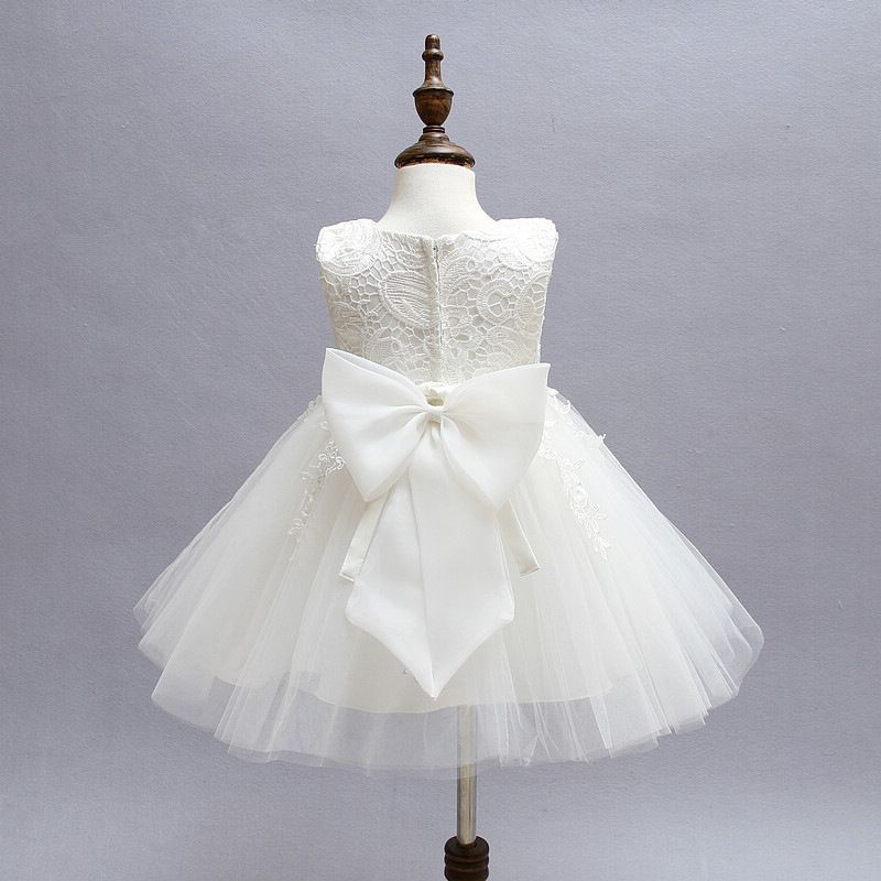 White Lace Newborn Baby Dress Christening Baptism Girl 1st 2nd Birthday Dresses Tutu Little Girl Party Toddler Clothes 12M 24M