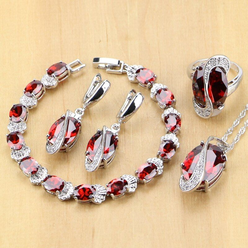 925 Sterling Silver Jewelry Red Cubic Zirconia White CZ Jewelry Sets For Wedding Earrings/Pendant/Necklace/<font><b>Rings</b></font>/Bracelet T224