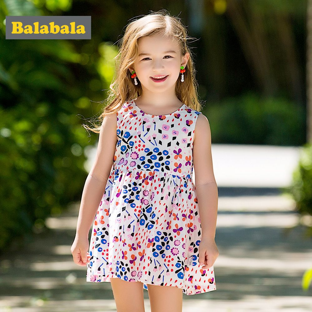 Balabala girls Floral dresses cute cotton Sleeveless dress for baby girl children clothing costume girl dresses 2018 for summer