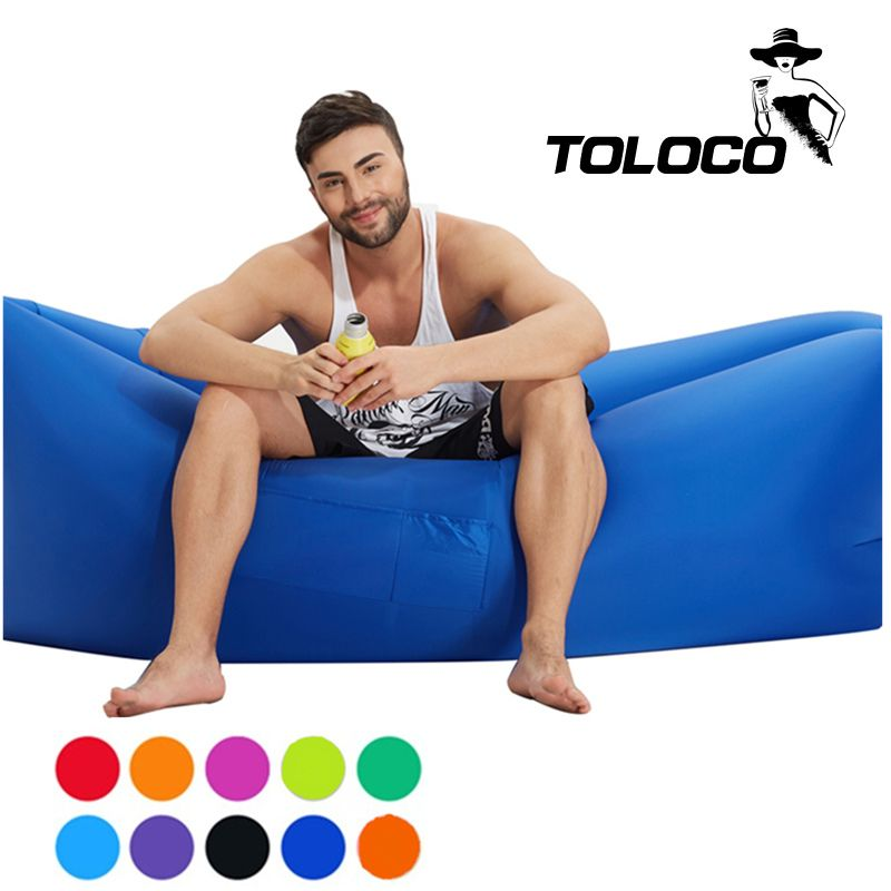 Fast Inflatable sleeping air bed hangout Air Sleep Hiking Camping Bed Beach Sofa Lounge Banana Sleeping bags lazy lay bag