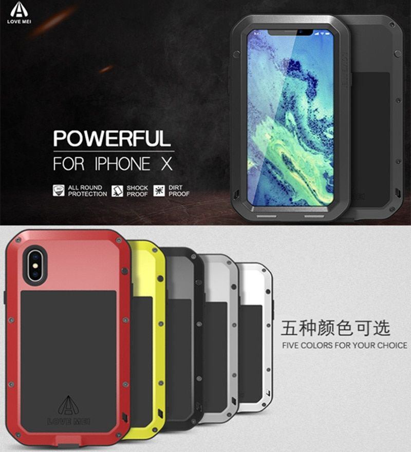 LOVE MEI For iPhone X 360 Degree Full Protection Aluminum Metal+ Gorilla Glass cover For iPhoneX Lite waterproof Shockproof Case