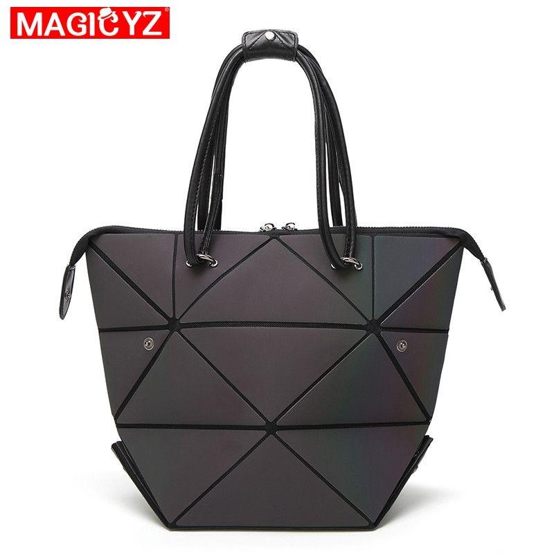 MAGICYZ Women Handbag Luminous Geometric Fold Over bag Luxury Brand Women Handbag Designer Diamond Lattice Woman Shoudler Bags