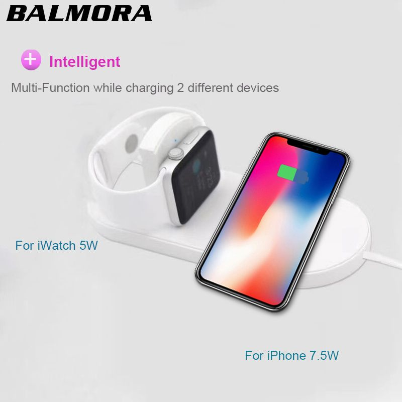BALMORA Wireless qi Charger Pad Fast Charging For iWatch 3 2 QI Charger For Sumsang S9 S7edge S8 S8P AirPower for iphone 8plus x