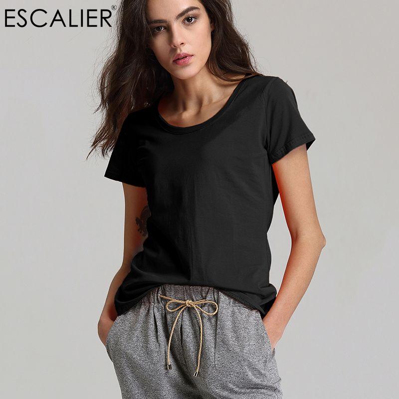 Escalier Summer 2017 Fashion Women O-Neck T-Shirts Cotton Women Tops Tees Sexy Short Solid Color <font><b>Comfortable</b></font> Broadcloth Shirts