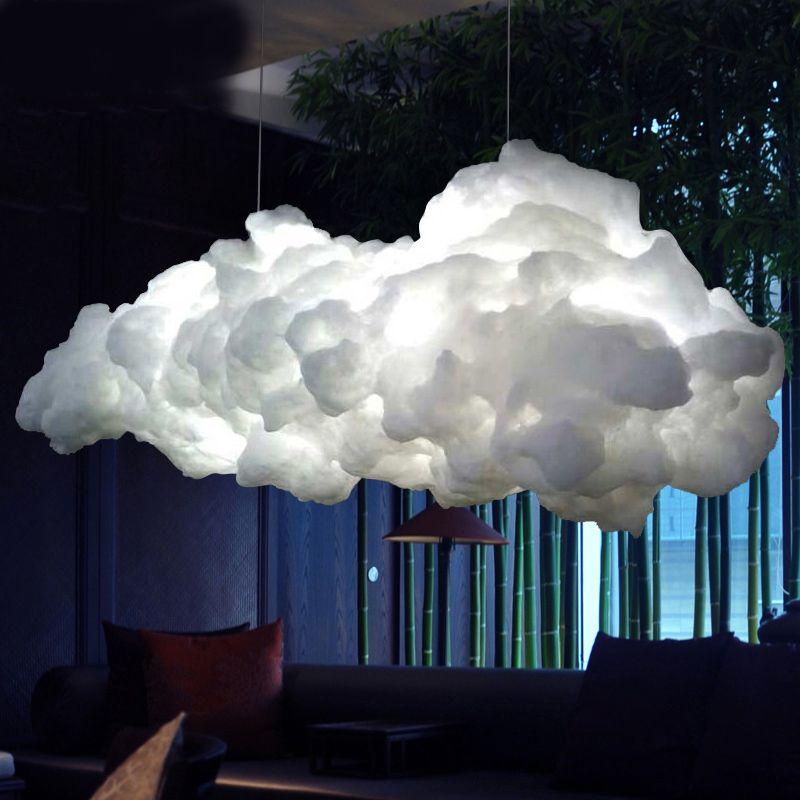 Moderne Kreative Romantische Weiß Wolken Anhänger Lichter Led Blitz Wirkung Lampe Weiß Weiche Schwimm Baumwolle Cloud Hängen Licht