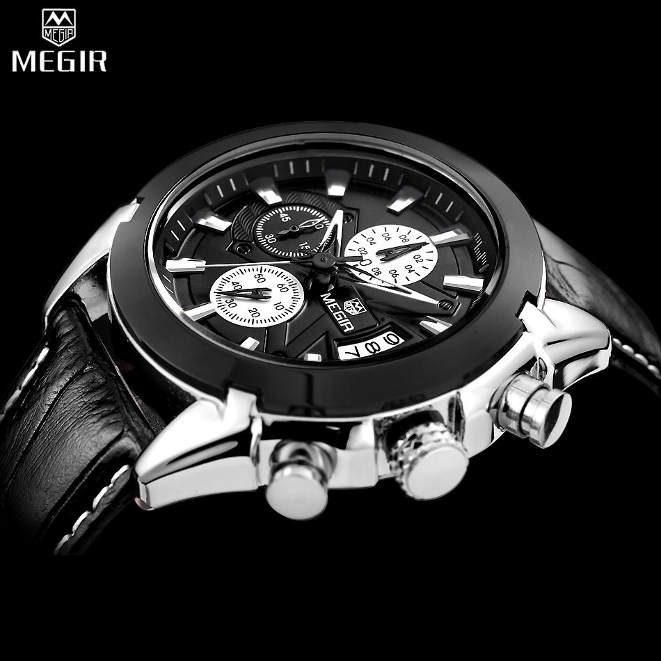 MEGIR Chronograph Casual Watch Men Luxury Brand Quartz Military Sport Watch Genuine Leather Men's Wristwatch