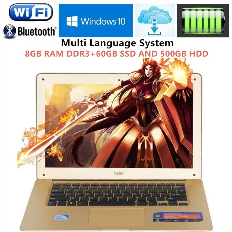 1920x1080P FHD Screen 8GB RAM+60GB SSD+500GB HDD Ultrabook Laptop Intel Pentium N3520 Duad Core 2.16GHz USB 3.0 Port on for SALE