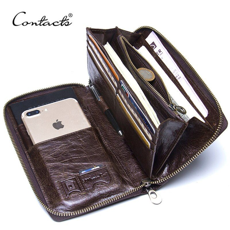 Contact's Cow Leather Men Casual Clutch Wallet Card Holder Zipper Purse With Passport Holder Phone Case For Male Long Wallet