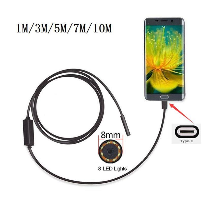 8mm 2MP 8LED 1/3/5/7 M Android Phone USB Type C USB-C Endoscope mini camera Waterproof Borescope Snake <font><b>Inspection</b></font> Video Camera