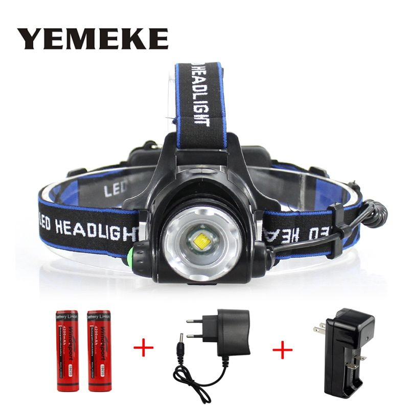 LED Headlight Cree XML-T6 Headlamp Waterproof Led 2000LM Rechargeable 2*18650 + Charger Head Lamps 3 Modes Head Light Zoomable
