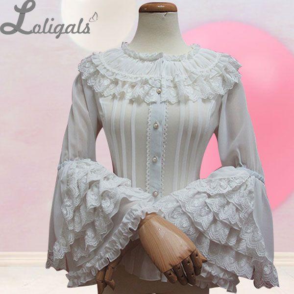Ретро Стиль длинными расклешенными рукавами Лолита кружевная блузка Для женщин плюс Размеры шифон белая рубашка с многослойными Кружево о...