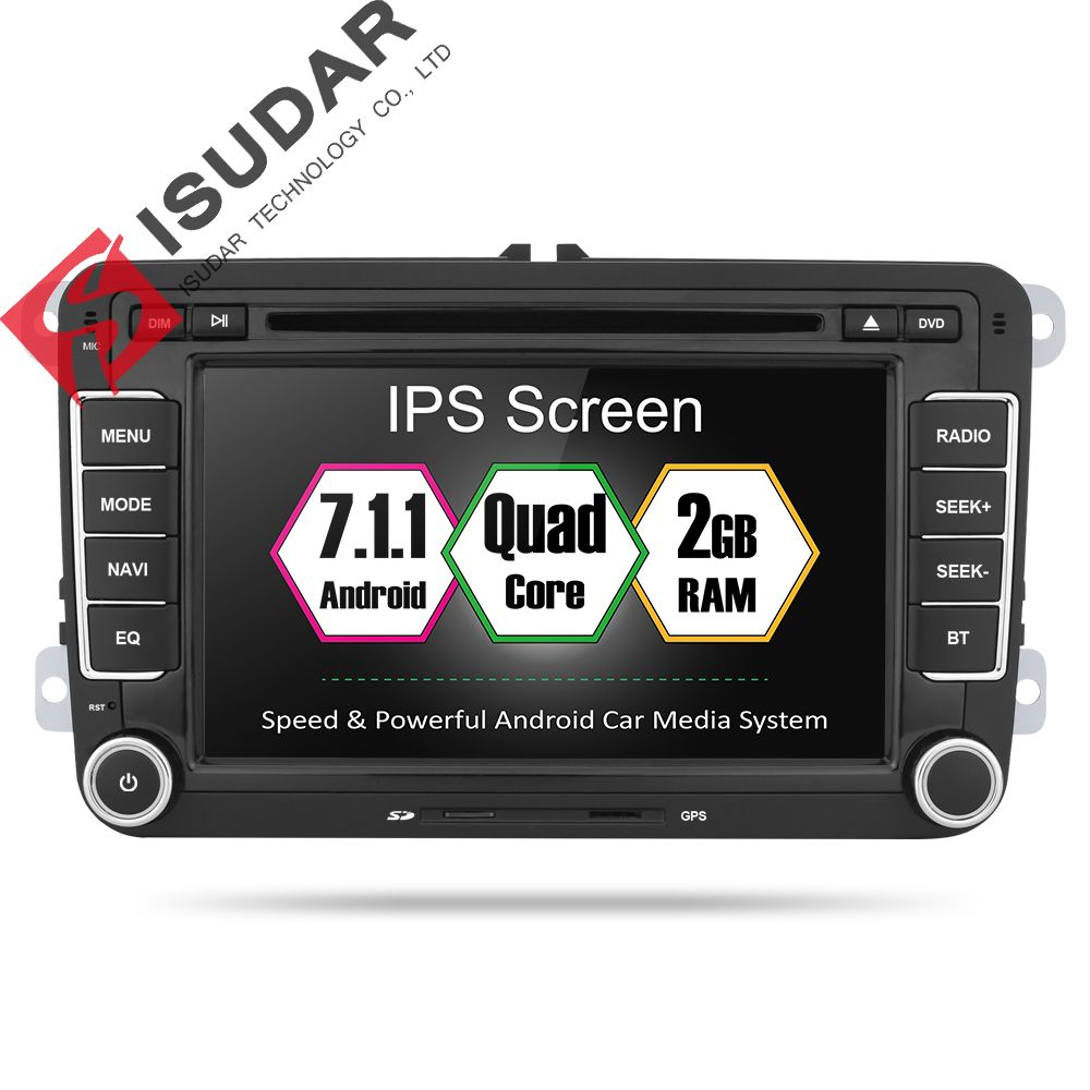 Isudar Car Multimedia Player 2 Din Auto DVD Android 7.1 For VW/Volkswagen/Golf/Polo/Tiguan/Passat/CC/Seat/Skoda 4 Core Radio GPS