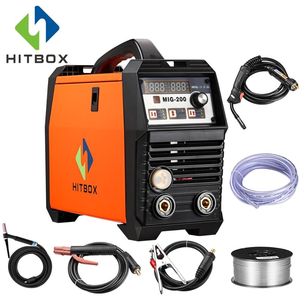 HITBOX MIG Schweißer MIG200A 220 v Gas MIG Schweißen Maschine 200A Für Edelstahl Und Carbon Stahl Schweißen Mit Zubehör