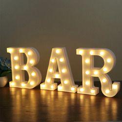 Letrero alfabeto lámpara 26 letras blanco LED noche luz para cumpleaños fiesta dormitorio pared colgante Decoración