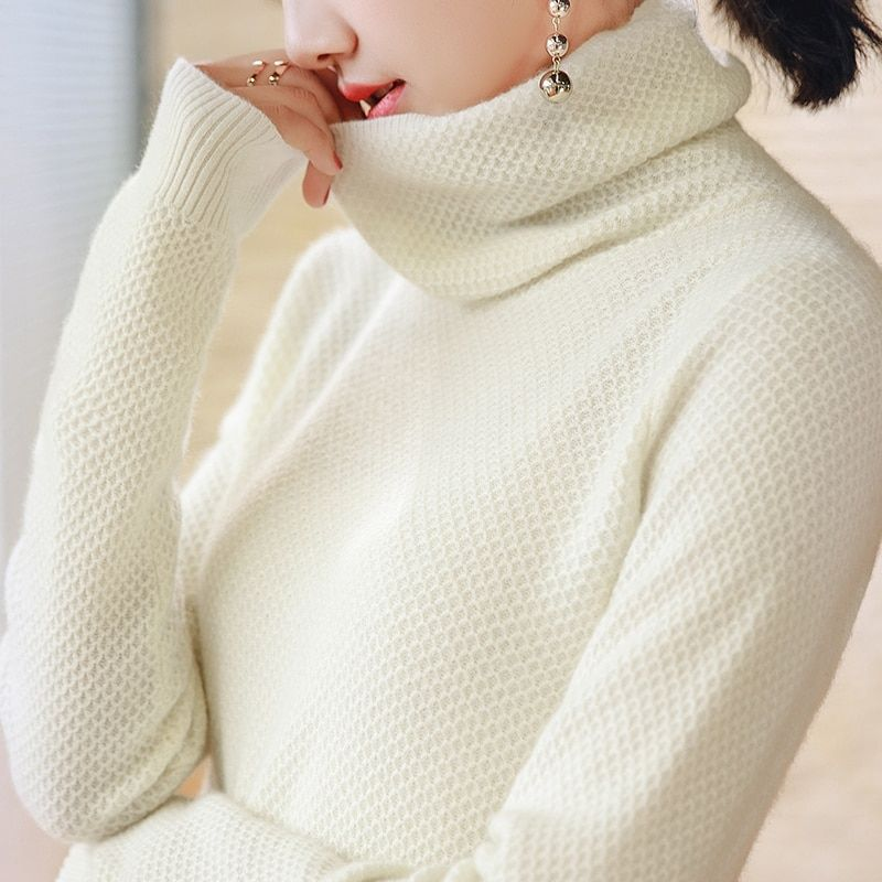 Menca Sheep Women Sweater 100% Cashmere Pullovers Turtleneck Winter Knitwear honeycom Knitting Jumpers Female Clothes Lady Tops