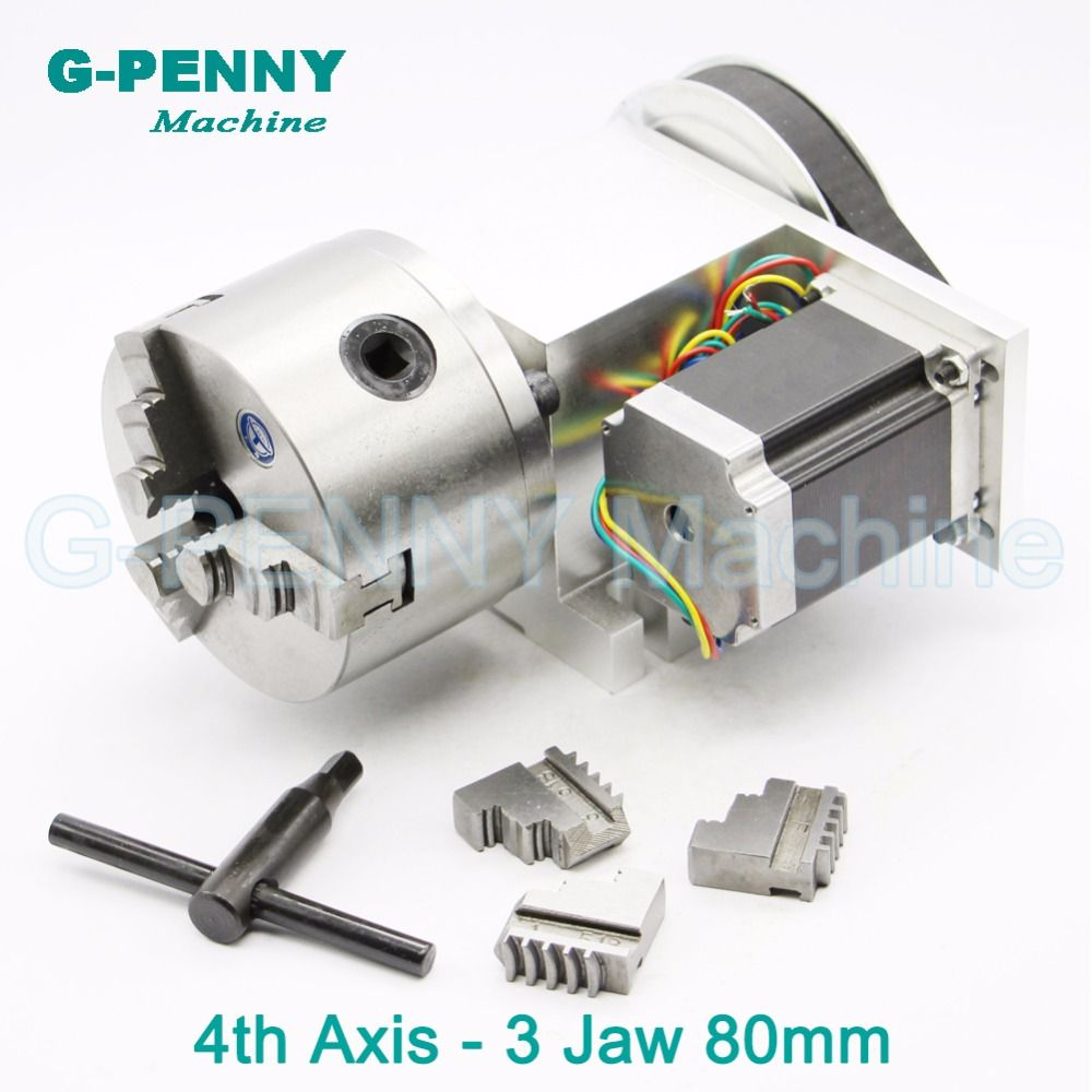 3 Jaw 80mm chuck CNC 4th Axis CNC dividing head/Rotation 6:1 A axis for Mini CNC router/engraver woodworking engraving machine