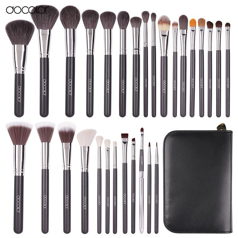 Docolor 29 PCS Makeup Brushes Set Goat Hair Brush Pony Hair Synthetic Hair Foundation Powder Cosmetic Make Up Brush With PU Bag