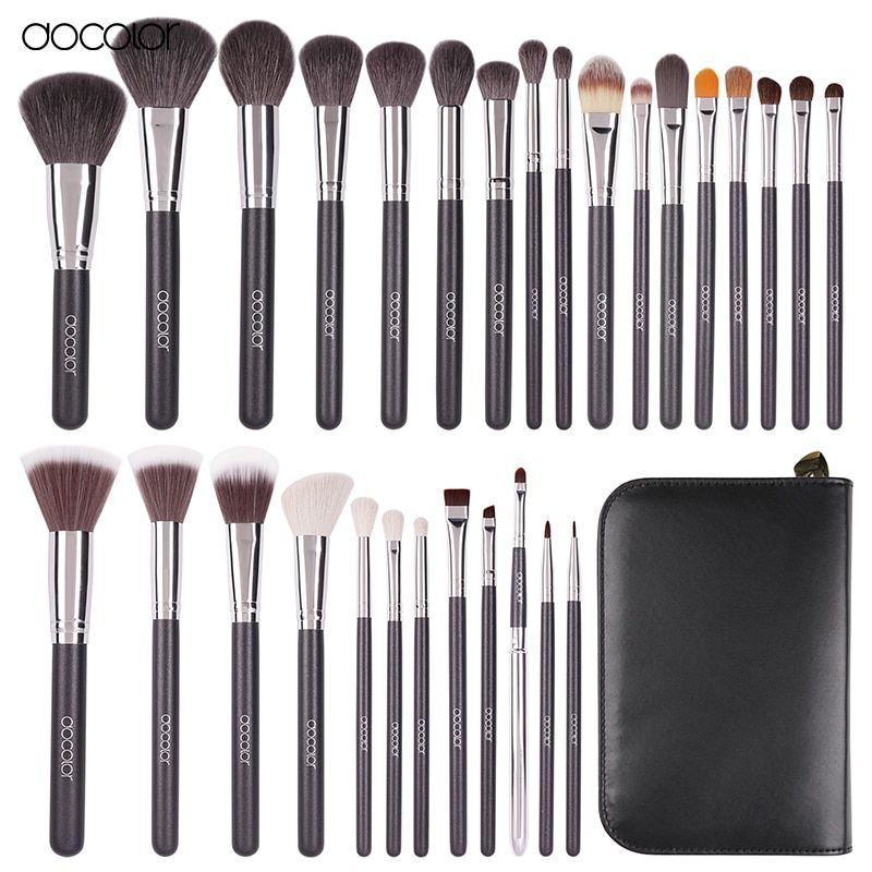 Docolor Professional 29 pcs Goat Hair Pony Hair Synthetic Hair Makeup Brushes Set Cosmetic Make Up Brush Tool Set With Case