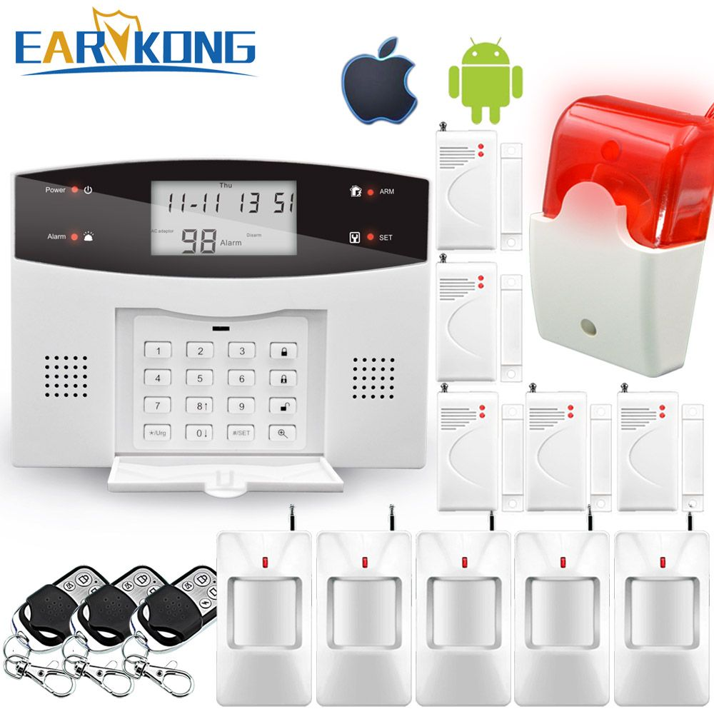 Wireless Wired PSTN GSM Alarm System 99 Wireless 4 Wired <font><b>Zones</b></font> Support Relay Output Smart Home Control Support Android IOS APP