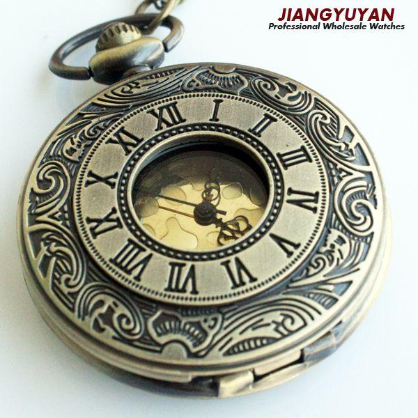 Hombres Vintage reloj de bolsillo antiguo Retro relojes con collar de cadena romana Steampunk para él aniversario bodas padrino