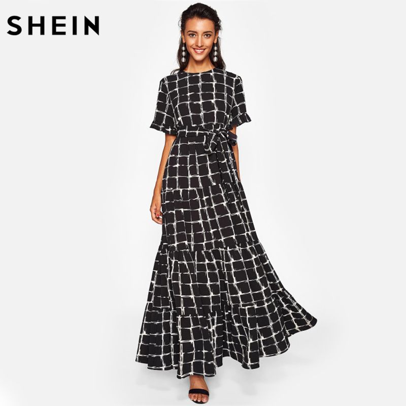 SHEIN Frilled Sleeve Brush Stroke Grid Tiered Dress Black Plaid Womens A Line Dresses Short Sleeve Elegant Maxi Dress