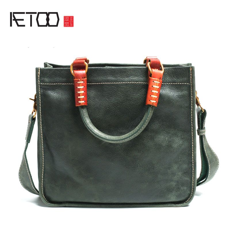AETOO Leather Square Tote Bag Handmade Soft Leather Shoulder Diagonal Bag Simple Literary Retro Handbag Briefcase