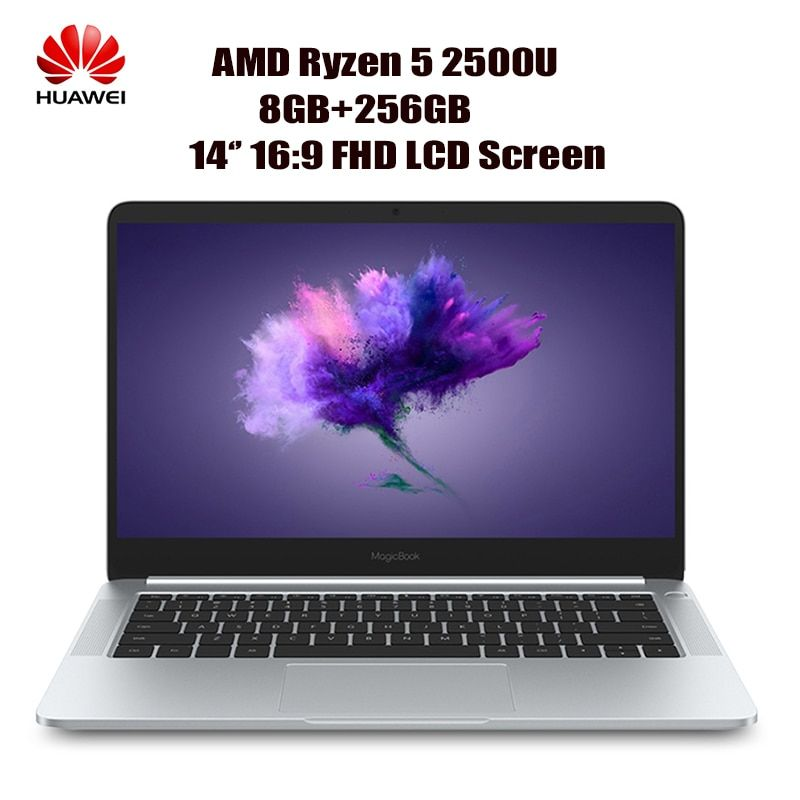 HUAWEI Honor MagicBook KPL-WOOB Laptop 14'' 16:9 FHD Windows 10-OEM Pro AMD Ryzen 5 2500U Quad Core 8GB+256GB Notebook HDMI