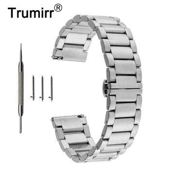 22mm Stainless Steel Butterfly Watch Band Strap Bracelet for Samsung Gear 2 R380 R381 R382 Moto 360 2 Gen 46mm Pebble Time Steel