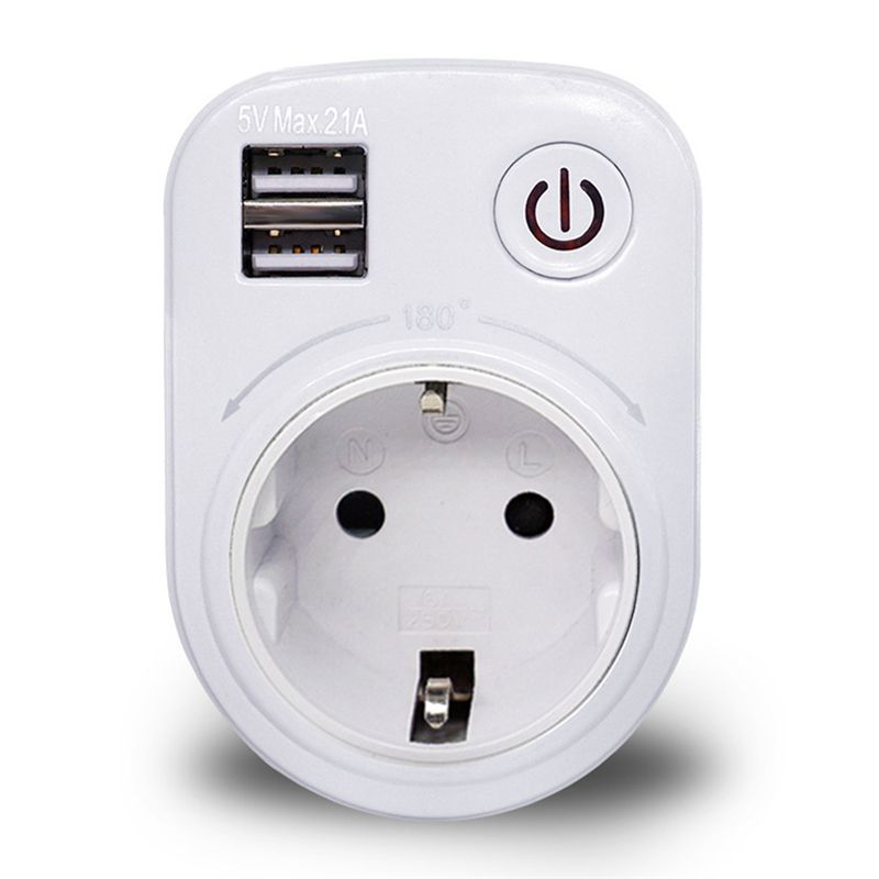 EU/US/UK Plug Dual USB Port 2.1A Wall Charger Power Adapter Travel Socket Switch With AC Outlet Socket Surge Protect Panel