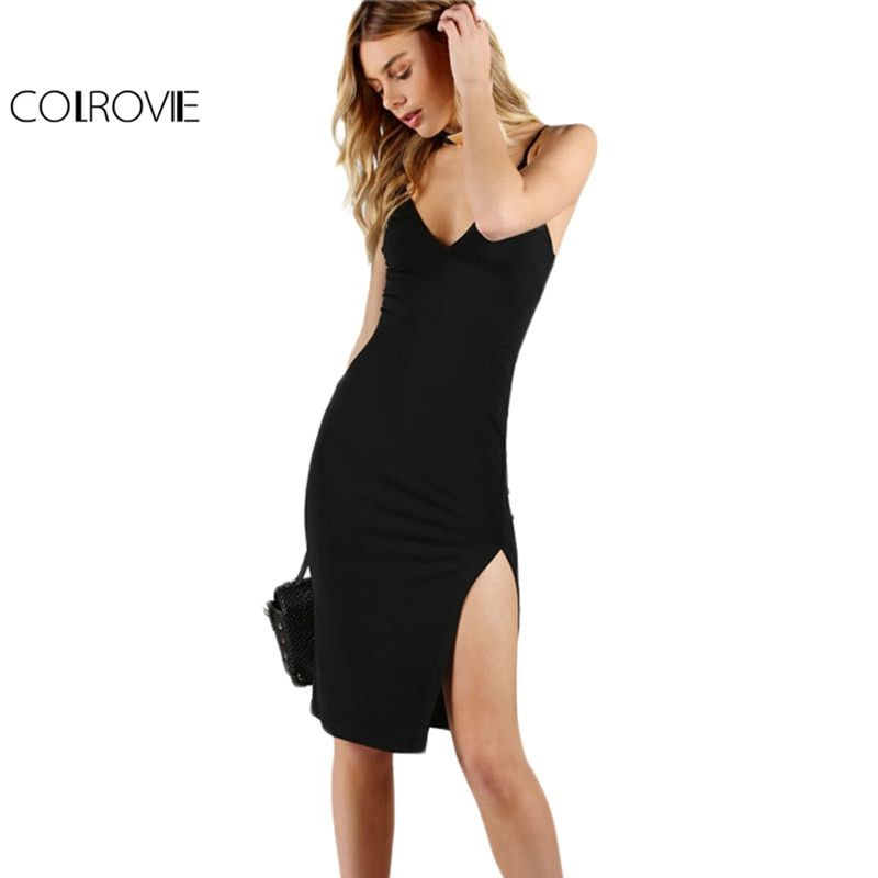 COLROVIE Night Club Crayon Parti Robe Noire Sexy Fente Avant Mince moulante Robes D'été 2017 Femmes V Neck Slip Midi Robe De Base