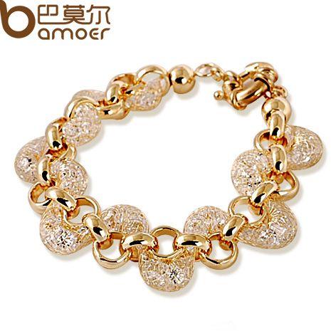 Lujo Champagne Alambre Zircon Crystal Mujer Moda Pulsera de Cadena de Oro BAMOER Joyería JSB005