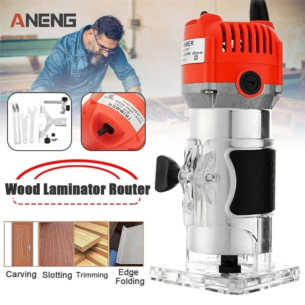 Router Trimmer 450w&650w 30000rpm Durable Small Copper Motor Carving Machine 6mm Electric Woodworking Trimmer Power Tool Wood