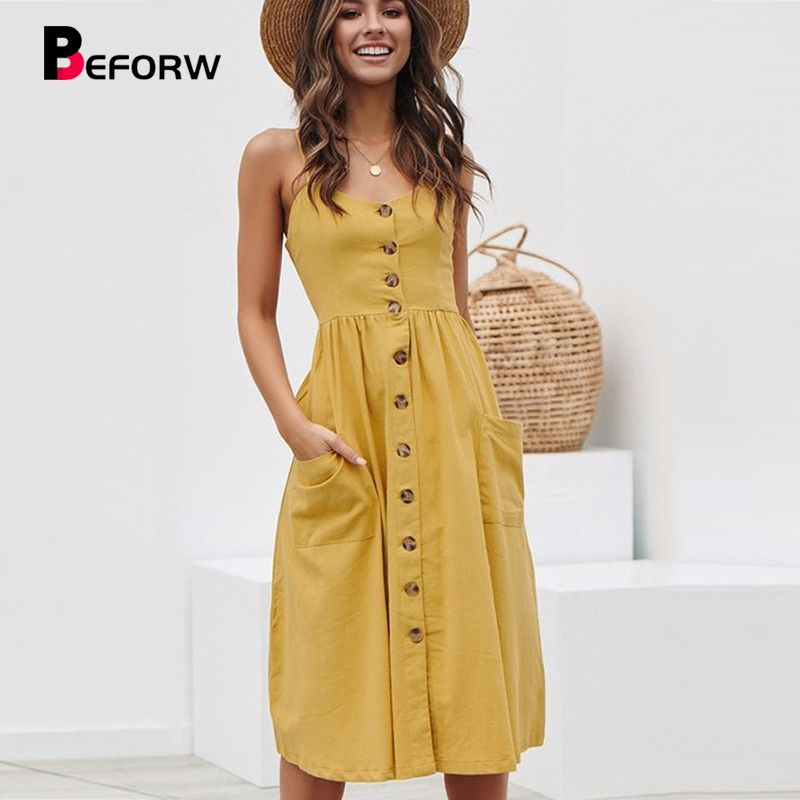 BEFORW Women Summer Dress 2019 Sexy Straps Bohemian Floral Tunic Beach Dress Sundress Pocket Red Dresses Female
