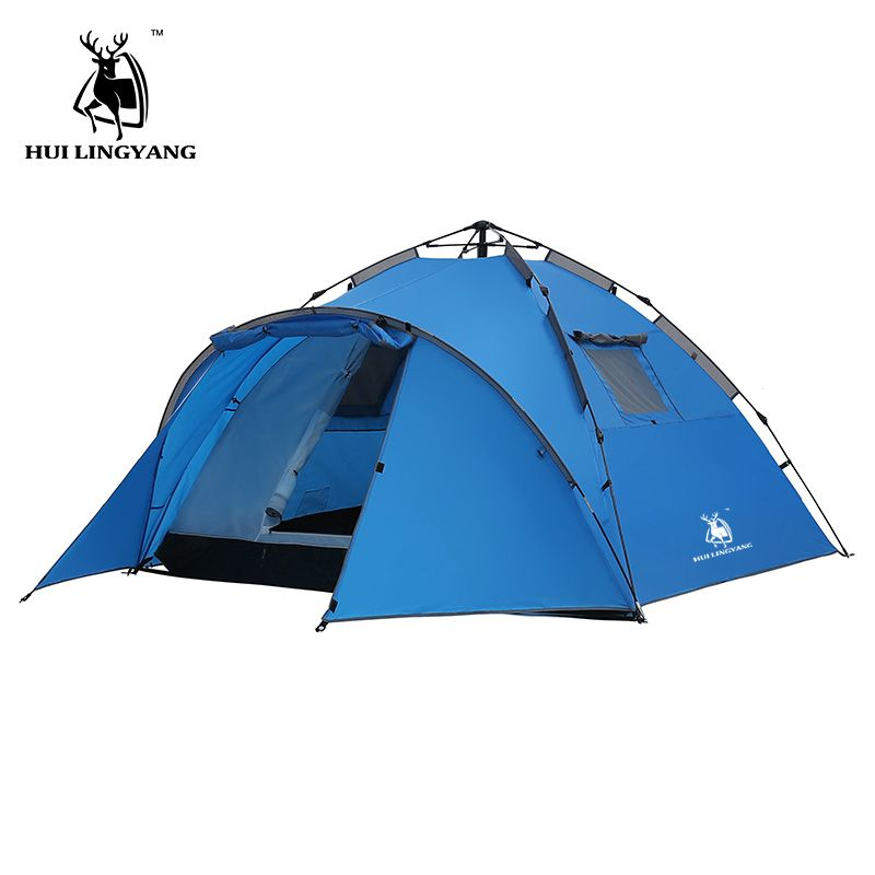 Camping Tent Large Space Double Layer 3-4 person tents Hydraulic Automatic Waterproof 4 Season Outdoor Family beach Hiking Tents